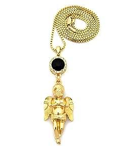 Redondo sintética Onyx piedra y diseño de ángel rezando macizo lámpara de techo 2 mm 61 cm en caja collar con colgante de dorado-tono