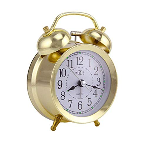 Retro Alarm Clock Modern Gold 2 Bells Alarm for Bedrooms/Kids Room with Night Light Size 4.7 inches