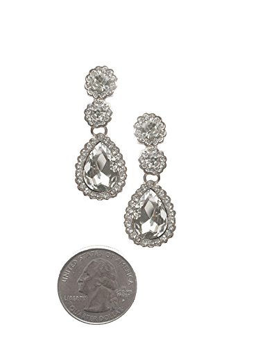 Silver Tone Art Deco Tacoris Style Halo Rhinestone Wedding Bridal Prom Earrings (Escada Rhinestone)