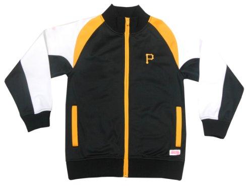 MLB Pittsburgh Pirates Girl's Mock Neck Track Jacket, Black, Small