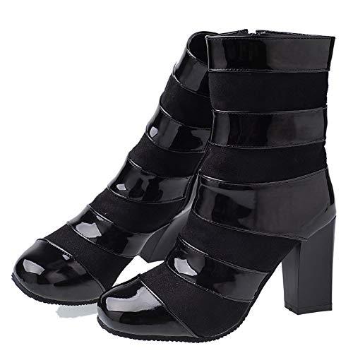 Black Black Polacchine JOJONUNU Blocco Donna Tacco a Zip Zip Zip 6wS1Yq