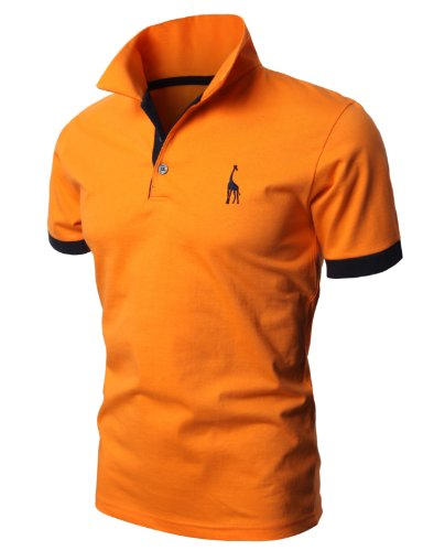 H2H Mens Casual Solid Giraffe Polo Shirts with Giraffe embroidery