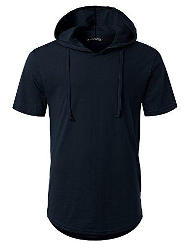 - URBANCREWS Mens Hipster Hip Hop Short Sleeve Pullover Hoodie Shirt Navy, 3XL
