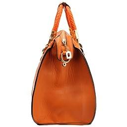 MG Collection Marissa Top Handle Doctor Shoulder Bag, Orange, One Size
