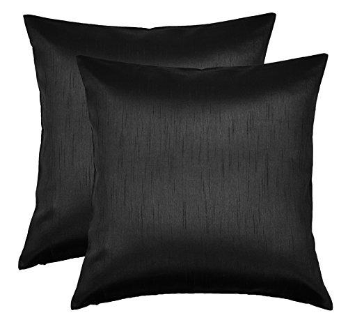 Aiking Home 26x26 Inches Faux Silk Square European Shams, Zipper Closure, Black (Set of 2) Black Pillow Sham Insert