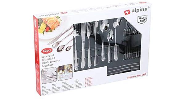 Q Sharp Alpina - Cubertería para 6 personas (42 piezas, acero ...