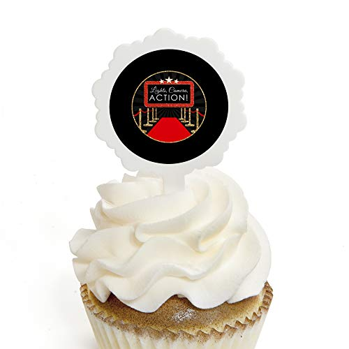 (Red Carpet Hollywood - Cupcake Picks with Stickers - Movie Night Party Cupcake Toppers - 12)