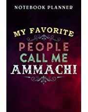 Notebook Planner My Favorite People Call Me Ammachi Pink Blue Clouds art: Management, Agenda, Daily, Budget Tracker, Lesson, Wedding, Finance,6x9 in , Financial