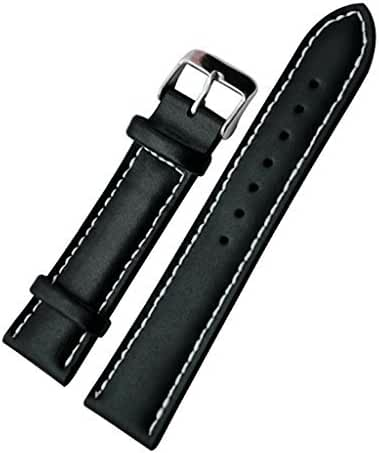 Vintage Replacement 18mm Genuine Leather Silver Buckle White Stitch Watch Strap/Watch Band, Black