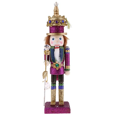 MagiDeal Vintage 30cm Wood Glittery Nutcracker Soldier Figures Figurine Home Desktop Ornaments Children Xmas Birthday Gift Rosy by MagiDeal (Image #8)