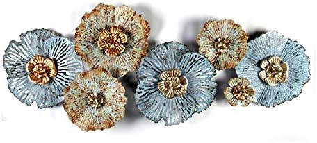 Pemberly Row Multi-Color Distressed Flower Metal Wall Sculpture