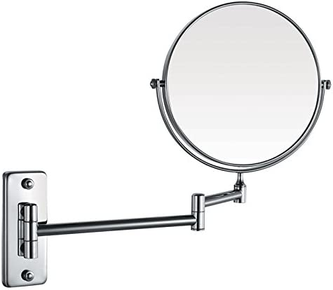 Wovier 8 Inch Two-Sided Swivel Wall Mount Magnifying Makeup Mirror, 12 Inch Extension, Chrome Finished 3X Magnification Mirror
