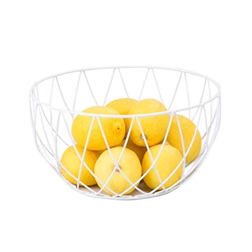 Nordic Wrought Iron Fruit Basket, Round Simple Style Fruit Bowl Fruit Bowl Nut Plate Snack Snack Tray Living Room Storage Basket Kitchen Rack -