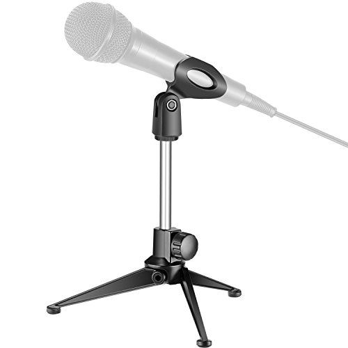 Neewer Universal Desktop Micorphone Stand with Microphone Clip, Compatible with Normal-sized Handheld Microphones such as Sm57 Sm58 Sm86 Sm87 for Online Chat, Podcasts, Conferences, Lectures and More