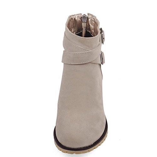 negro hebilla goma inferior 37 matorral HFour Women botas antideslizante talón Seasons XIAOGANG cinturón amarillo Azul de desgaste cortas de Beige de grueso H Beige wIFqc8