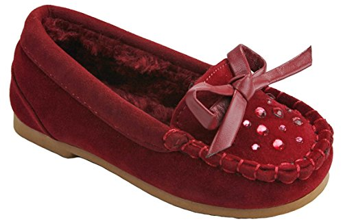 Baby Girls Moccasin Cherry15F Wine Butterfly Rhinestone Faux Soft Suede Fur Lined Loafer Slippers Flats-7
