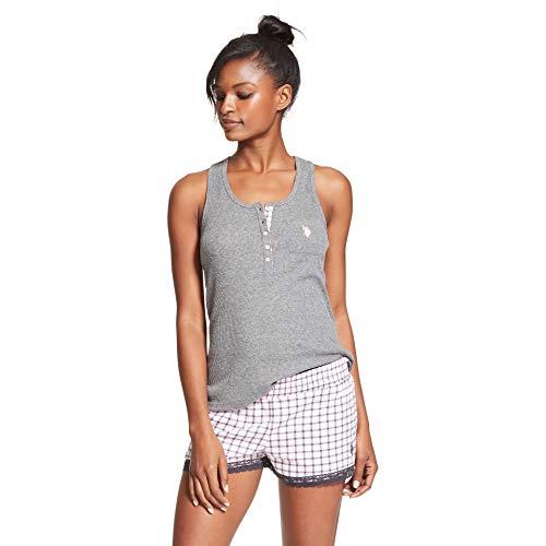 U.S. Polo Assn. Womens 2 Piece Sleeveless Tank Top Elastic Waist Pajama Shorts Set Charcoal Heather Air 3X
