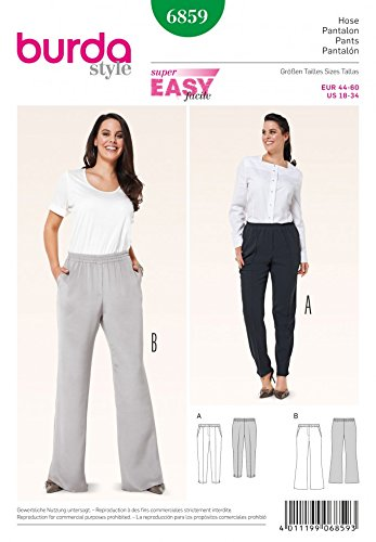 Amazon.com: Burda Ladies Plus Size Easy Sewing Pattern 6859 Elastic ...