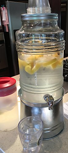 Circleware Breeze Glass Beverage Drink Dispenser with Stand Metal Base which Transforms to Metal Ice Bucket and Metal Lid + Fruit Infuser + Chrome Finished Spigot, HUGE 2.3 Gallons by Circleware (Image #8)