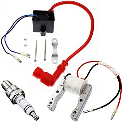 50cc 60cc 66cc 80cc 2-stroke Engines Motorized Bicycle Motor Bike ATV Quad Scooter Yingshop High Performance 2-Wire Magneto Coil Kit with CDI Ignition Coil Spark Plug Replacement for 49cc