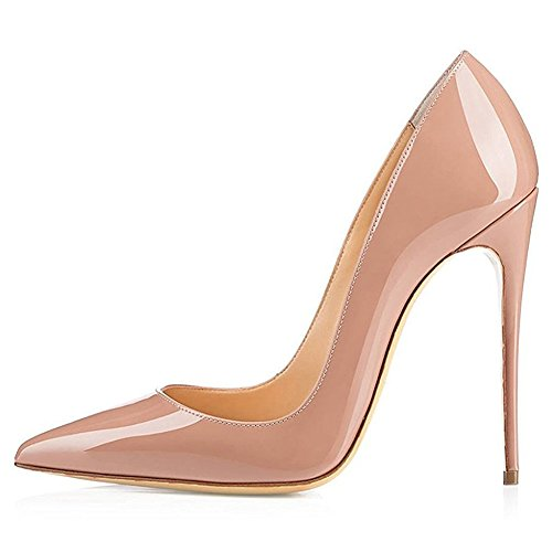 Kmeioo High Heels, Women's Pointed Toe High Heel Slip On Stiletto Pumps Evening Party Basic Shoes Plus Size-Nude 9 M US ()