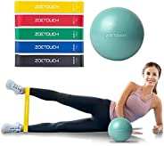 ZOETOUCH Resistance Loop Bands Set with Exercise Ball Included, Elastic Bands for Stretch, Strength Training,