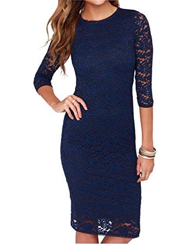 Mantos Eternity Women's Elegant Floral Lace 2/3 Sleeve Slim Evening Dress, Blue, Size US 4