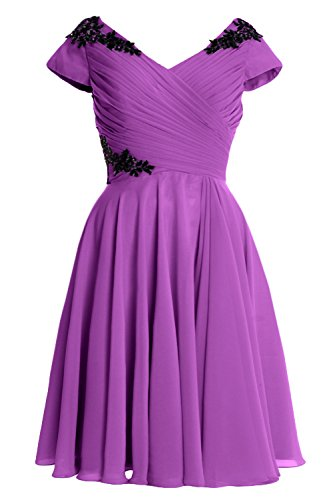 MACloth Elegant Cap Sleeve Short Mother of Bride Dress Cocktail Formal Gown Amethyst