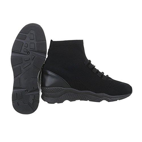 Chaussures femme Baskets mode Plat Sneakers Espadrilles high Ital-Design Noir G-10 ttv1jbeU