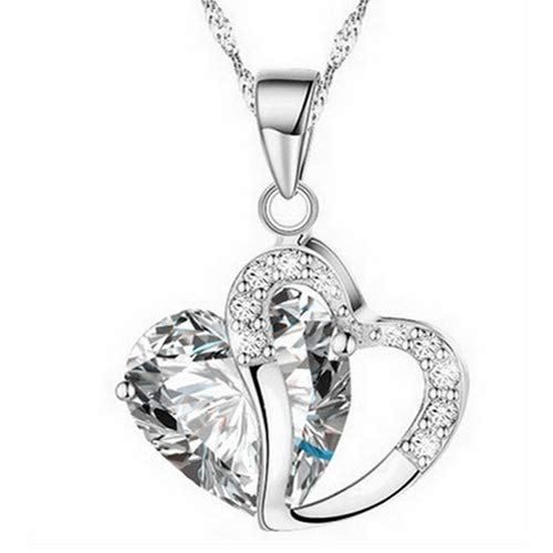 Heart to Heart Rhinestone Crystal Alloy Pendant Choker Necklace (Crystal White)