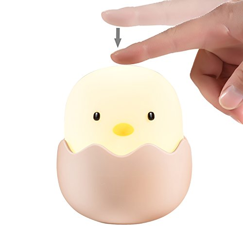 APUPPY Cute Creative Egg Shell Night Light, Rechargeable Egg Shell Chick Shape Top Control Lamp for Girl Lady Kid Baby Bedroom and Nursery