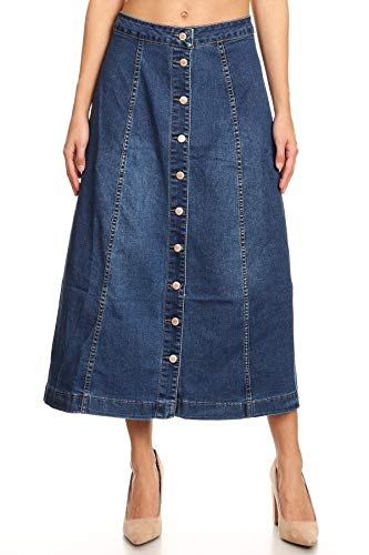 Women's Juniors Mid Rise A-Line Buttons Down 8-Gore Long Jeans Maxi Denim in M. Blue Size XXL