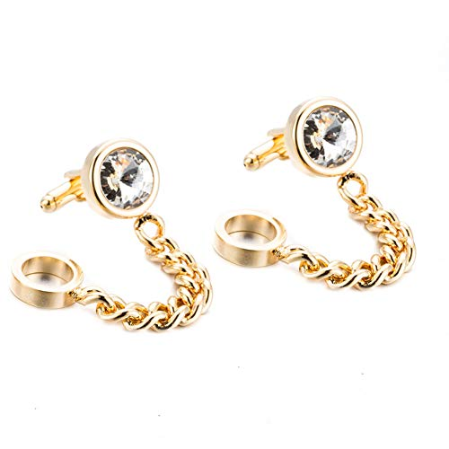 Da.Wa Golden Crystal Chain Cuff Links Men