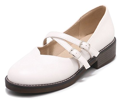 Womens Shoes Buckled Strap Toe Mary Comfort White Jane Dressy Chunky Pumps Aisun Round Low Cute Heel qxTAdqwC