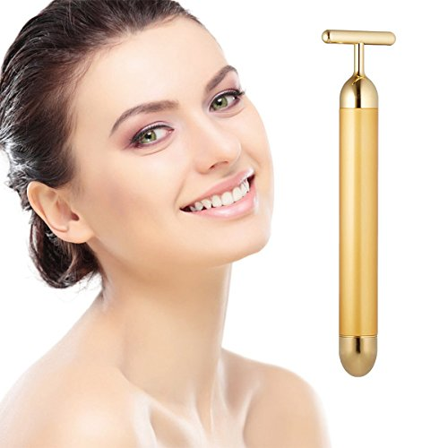 Beauty Bar 24k Golden Pulse Facial Massager, T-Shape Electric Sign Face Massage Tools for Sensitive Skin Face Pull Tight Firming Lift