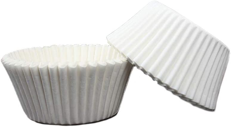 100 Pieces Standard Cupcake Cup Liners, Nonstick Parchment Papers Baking Cups, Safe Food Grade Inks and Paper Grease Proof Cupcake Liners for Baking Muffin and Cupcakes Decoration Cups (White 100pcs)