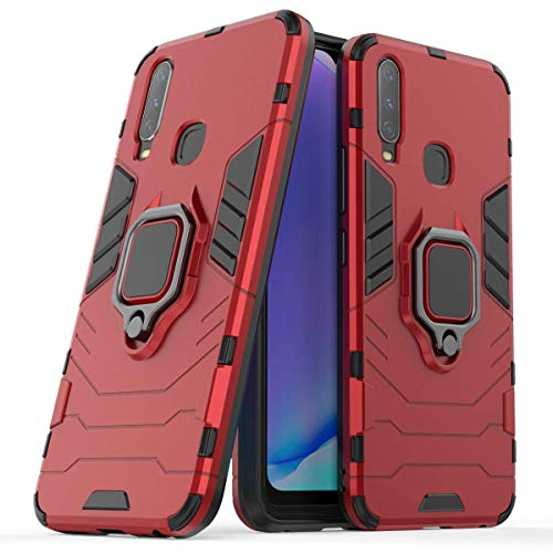 For Vivo IQOO Y17/Y3/Y15 Case Ring Holder Iron Man Design 2 in 1 Hybrid Heavy Duty Armor Hard Back Protective Case Cover (Y17/Y3/Y15 Red)