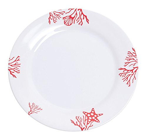 Galleyware Coral Melamine Non-Skid Dinner Plates, Set Of 4