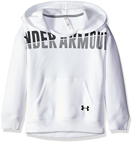 Under Armour Girls' Favorite Fleece Hoodie, White/Black, Youth Small