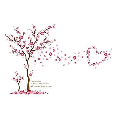 KoalaBear Brand Japanese Cherry Blossom Trees Wall Decal Plum Stickers Removable Large Decorative Flower Wallpaper PeelStick For Bedroom Living Room TV