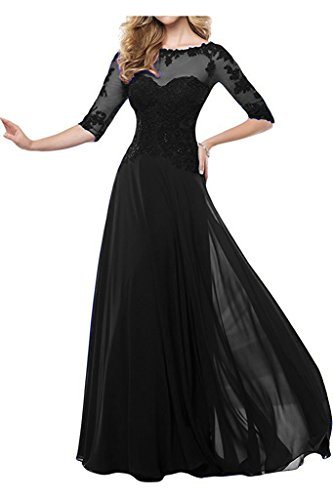 Pettus Women's Lace And Chiffon Half Sleeve Prom Dress Mother of Bride Dress