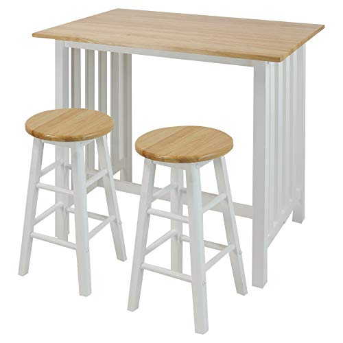 Casual Home 3-Piece Breakfast Set with Solid American Hardwood Top, White ()