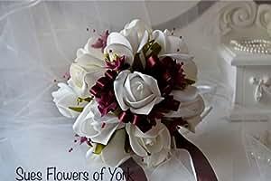 Flores de la boda novias juego de Borgoña y calidad rosas paperbaker.