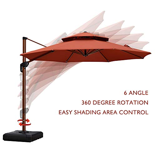 PURPLE LEAF 11 Feet Double Top Deluxe Wood Pattern Patio Umbrella Offset Hanging Umbrella Cantilever Umbrella Outdoor Market Umbrella Garden Umbrella, Brick Red ()