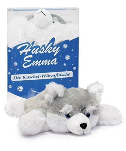 Kinder-Wärmflasche Husky Emma mit Kuschel-Bezug 0,5 L sehr flauschig