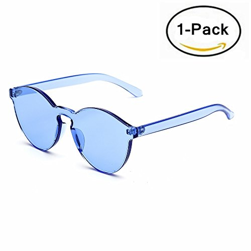 Samto One Piece Sunglasses, 2 Pack pc lens rimless colorful womens sunglasses (Blue, - Rimless Sunglasses