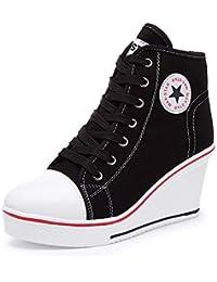 Women's Wedges Sneaker High-Heeled Canvas Shoes Platform...
