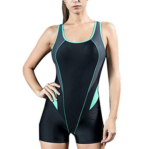 Zhhlinyuan Vintage High Elasticity Swimming Beachwear Womens Siamese Halter Swimsuit Black&Green