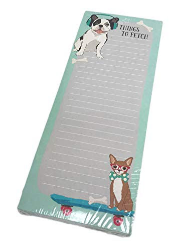 "Things to Fetch Tall Lined Magnetic Novelty Dog Themed Errand List Note Pad 10"" x 4"""
