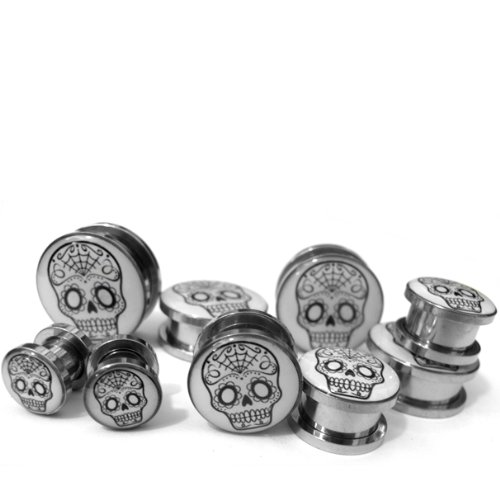 STL016 2 Gauge - 6mm Stainless Steel 1 Pair of Classic Sugar Skull Plugs